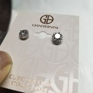 Sterling Silver CZ Giani Bernini Stud Earrings